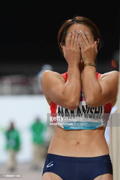 Maya Nakanishi of Japan competes in the Women's Long Jump T64 Final on day five of the World Para Athletics Championships at the Dubai Club for...