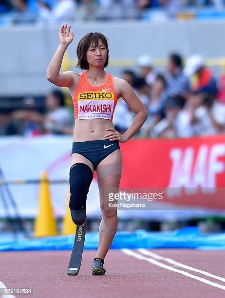 Maya Nakanishi of Japan competes in the Women's Longjump T44 during the SEIKO Golden Grand Prix 2016 at Todoroki Stadium on May 8, 2016 in Kawasaki,...