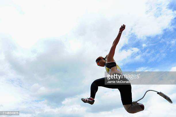 Maya Nakanishi of Japan jumps in the F44/46 Long Jump during the BT Paralympics World Cup Athletics at the Manchester Regional Arena on May 27, 2011...