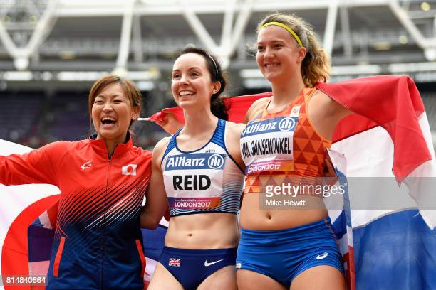Maya Nakanishi of Japan , Stef Reid of Great Britain and Marlene Van Gansewinkel of the Netherlands celebrate winning their medals in the Women's...