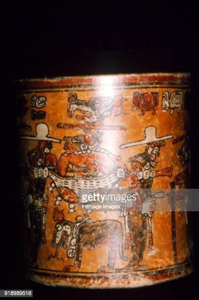 Maya painted jar man in jaguarskin litter from Guatemala Artist Unknown