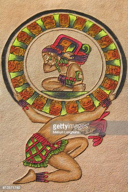 Maya painting on leather, Chichen Itza Archaeological Site, Chichen Itza, Yucatan State, Mexico