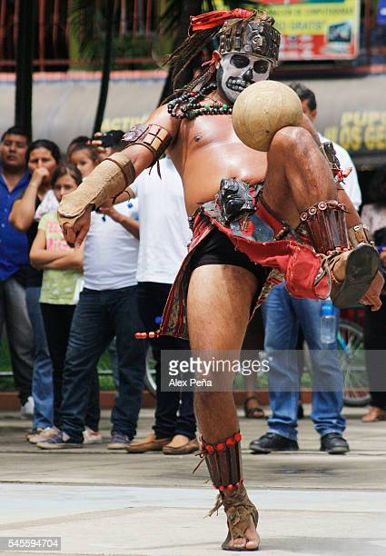 A maya performs with a tradiotional ball on July 08 2016 in San Salvador El Salvador Members of Guatemalan Maya people participated in a presentation...