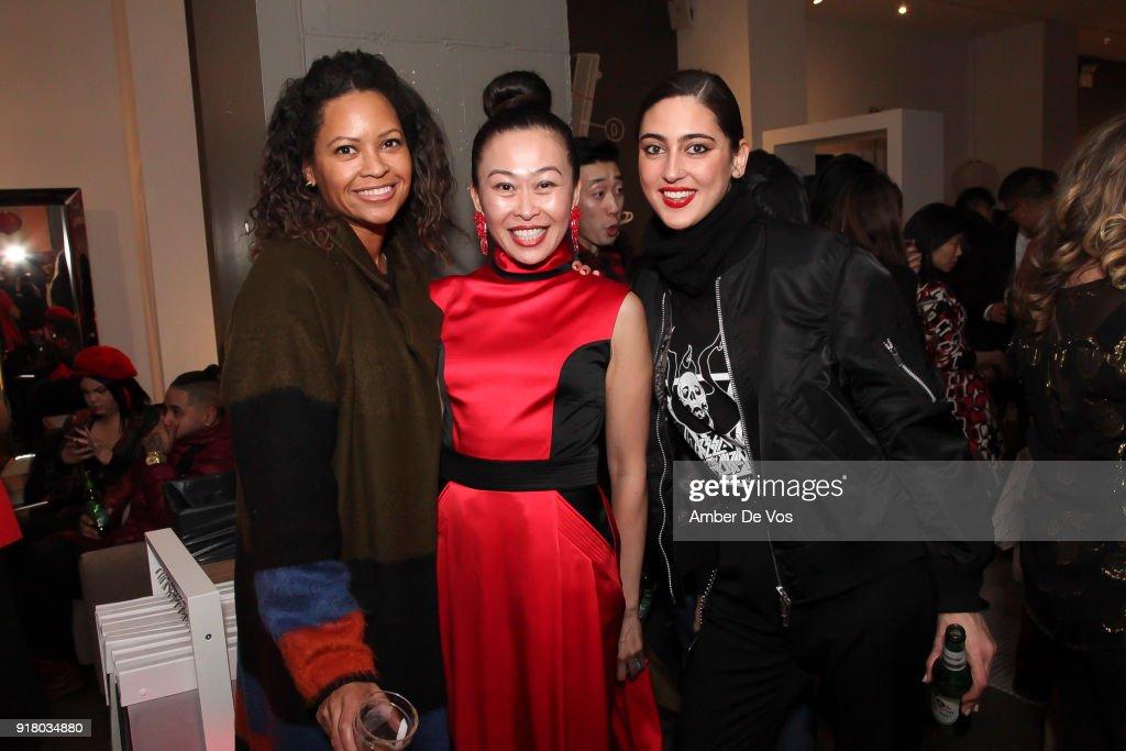 Maya Peterson, Niki Cheng and Ayesha Khan attend New York Chinese New Year Celebration at Calligaris SoHo on February 13, 2018 in New York City.