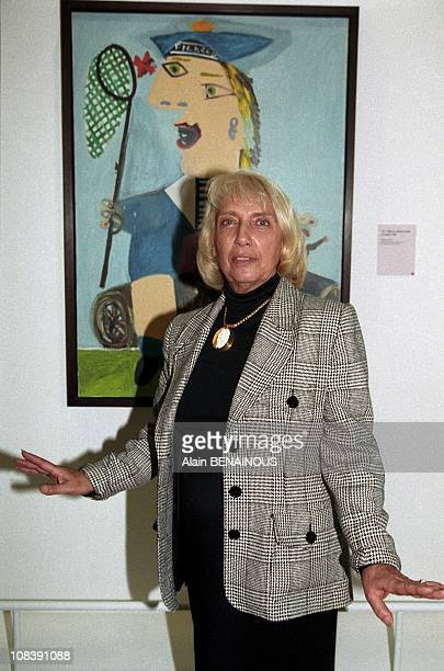 Maya Picasso in front of her portrait in Paris France on October 15 1996