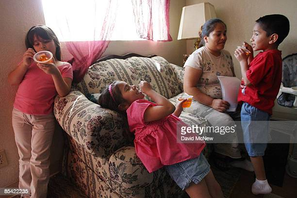 Maya Ramirez a single mother who relies on a monthly food handout from the Imperial Valley Food Bank through the Sister Evelyn Mourey Center for...