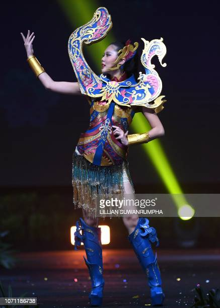 Maya Reaidy Miss Lebanon 2018 poses on stage during the 2018 Miss Universe national costume presentation in Chonburi province on December 10 2018