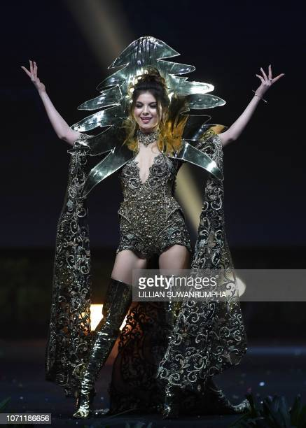 Maya Reaidy Miss Lebanon 2018 walks on stage during the 2018 Miss Universe national costume presentation in Chonburi province on December 10 2018