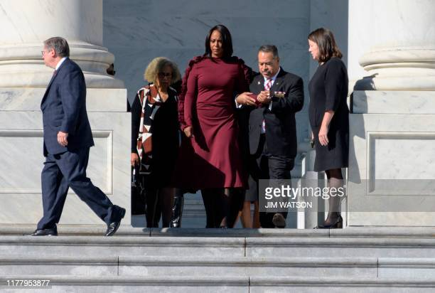 Maya Rockeymoore Cummings arrives to watch the casket of her husband Democratic US Representative from Maryland Elijah Cummings arrive at the US...