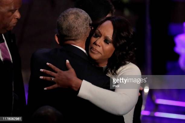 Maya Rockeymoore Cummings is greeted by former President Barack Obama during funeral services for her late husband US Representative Elijah Cummings...