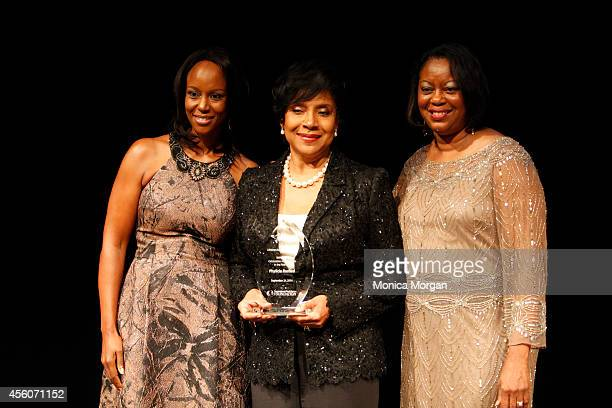 Maya Rockeymoore Cummings Phylicia Rashad and Mereda Davis Johnson attends The Congressional Black Caucus Spouses Event at The Newseum on September...