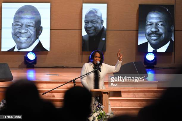 Maya Rockeymoore Cummings speaks during funeral services for late US Representative Elijah Cummings at the New Psalmist Baptist Church October 25...
