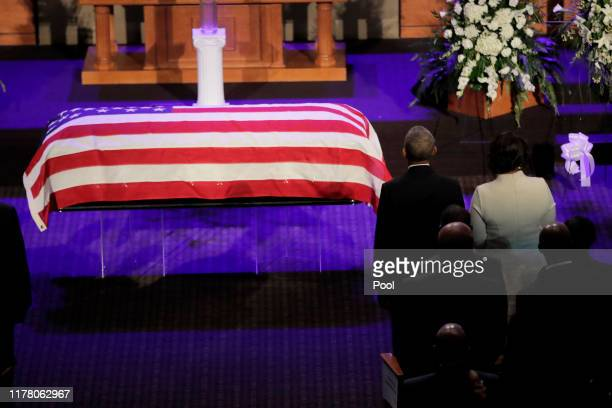 Maya Rockeymoore Cummings stands next to former President Barack Obama during funeral services for late US Representative Elijah Cummings at the New...