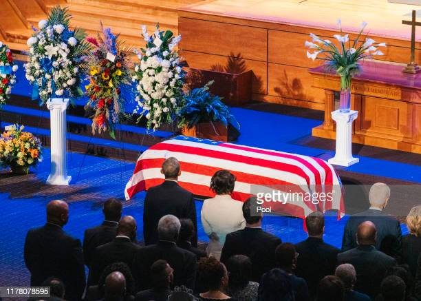 Maya Rockeymoore Cummings stands next to former US President Barack Obama during the funeral services for late US Representative Elijah Cummings at...