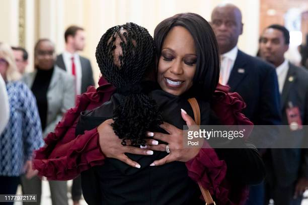 Maya Rockeymoore Cummings the widow of US Rep Elijah Cummings greets members of the public to the US Capitol for a memorial service October 24 2019...