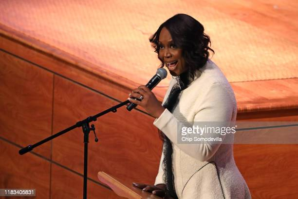 Maya Rockeymoore delivers remarks during the funeral service for her husband Rep Elijah Cummings at New Psalmist Baptist Church on October 25 2019 in...