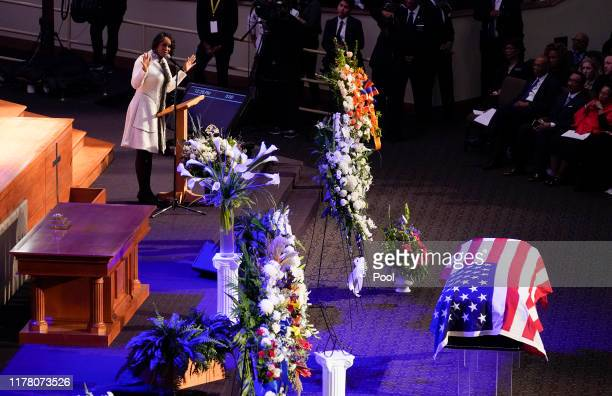 Maya Rockeymoore widow of late US Rep Elijah Cummings speaks during funeral services for Cummings at the New Psalmist Baptist Church October 25 2019...