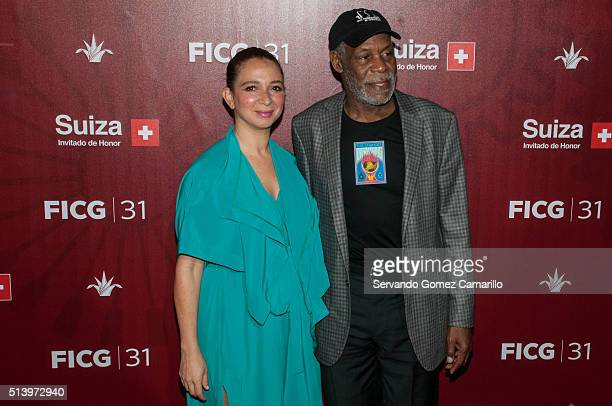 Maya Rudolph and Dany Glover attend the red carpet of the movie Mr Pig at Diana Theater on March 05 2016 in Guadalajara Mexico