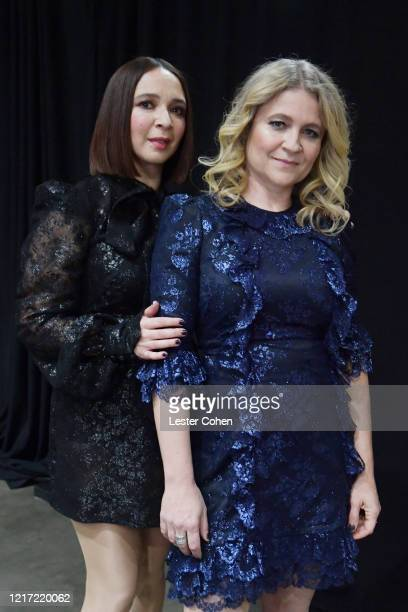 Maya Rudolph and Gretchen Lieberum attend the 62nd Annual GRAMMY Awards Let's Go Crazy The GRAMMY Salute To Prince on January 28 2020 in Los Angeles...