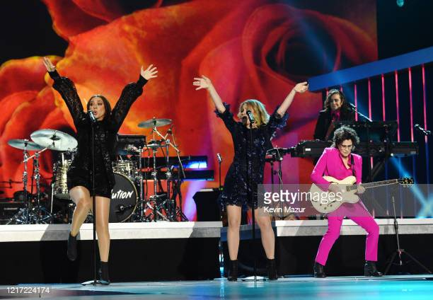 Maya Rudolph and Gretchen Lieberum of Princess perform with Wendy Melvoin and Lisa Coleman onstage during the 62nd Annual GRAMMY Awards Let's Go...