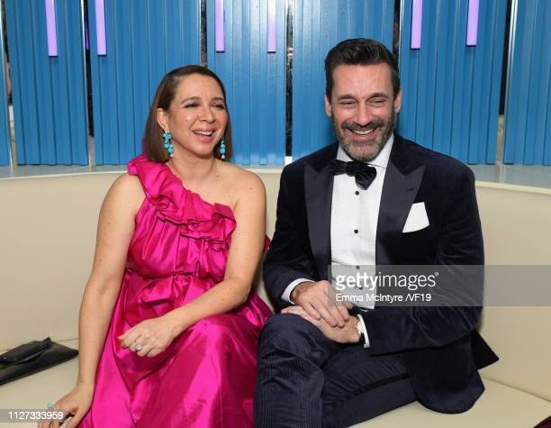 Maya Rudolph and Jon Hamm attend the 2019 Vanity Fair Oscar Party hosted by Radhika Jones at Wallis Annenberg Center for the Performing Arts on...