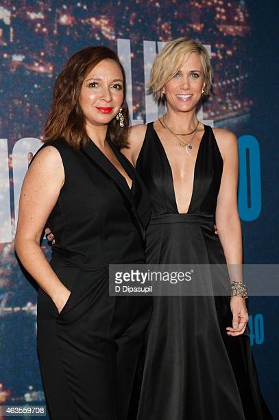 Maya Rudolph and Kristen Wiig attend the SNL 40th Anniversary Celebration at Rockefeller Plaza on February 15 2015 in New York City