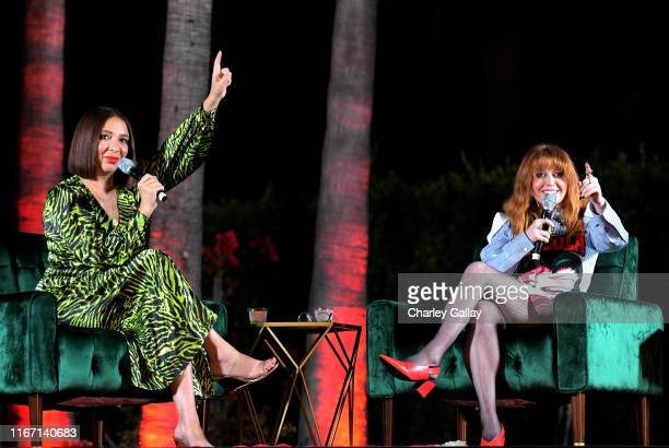 Maya Rudolph and Natasha Lyonne speak onstage at the 'Russian Doll' Screening and Reception at Hollywood Forever on August 09, 2019 in Hollywood,...