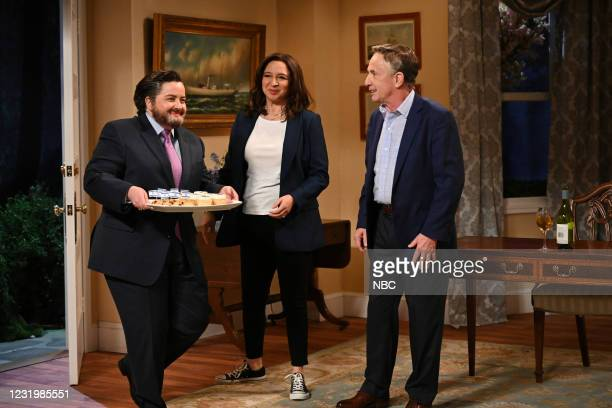 """Maya Rudolph"""" Episode 1800 -- Pictured: Aidy Bryant as Ted Cruz, host Maya Rudolph as Vice President Kamala Harris, and Martin Short as Second..."""