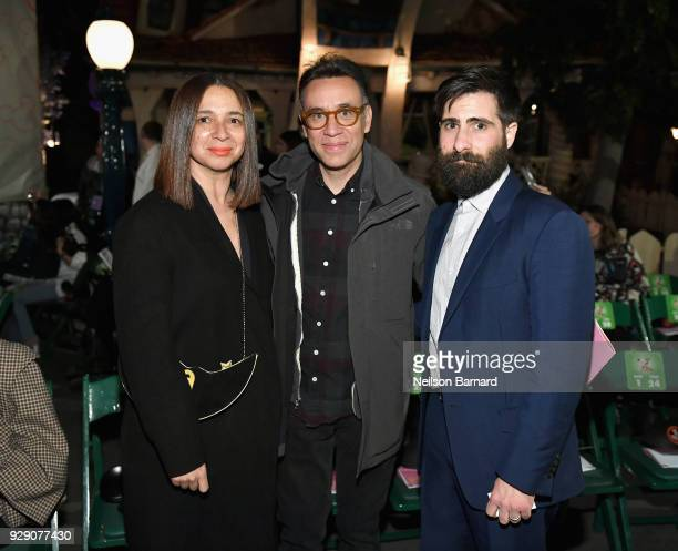 Maya Rudolph Fred Armisen and Jason Schwartzman attend the launch of 'Mickey the True Original' campaign in celebration of Mickey's 90th anniversary...