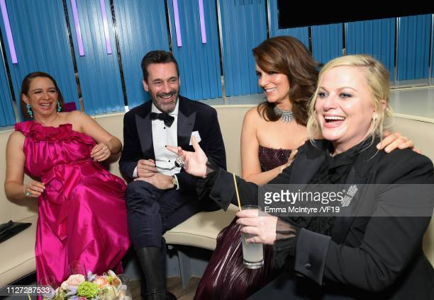 Maya Rudolph, Jon Hamm, Tina Fey, and Amy Poehler attend the 2019 Vanity Fair Oscar Party hosted by Radhika Jones at Wallis Annenberg Center for the...