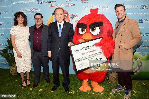 Maya Rudolph Josh Gad Mr Ban KiMoon 'Red' and Jason Sudeikis attend the United Nations Ceremony Presentation and Photo Call naming Red from the ANGRY...