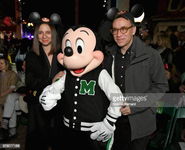 Maya Rudolph Mickey Mouse and Fred Armisen attend the launch of 'Mickey the True Original' campaign in celebration of Mickey's 90th anniversary with...