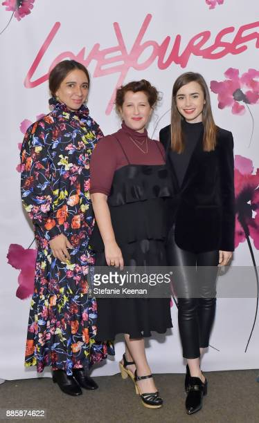 Maya Rudolph, Molly R. Stern and Lily Collins attend Molly R. Stern X Sarah Chloe Jewelry Collaboration Launch Dinner on December 4, 2017 in West...