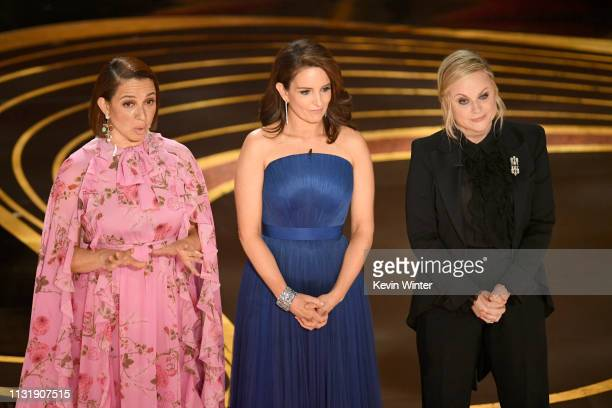 Maya Rudolph, Tina Fey, and Amy Poehler speak onstage during the 91st Annual Academy Awards at Dolby Theatre on February 24, 2019 in Hollywood,...