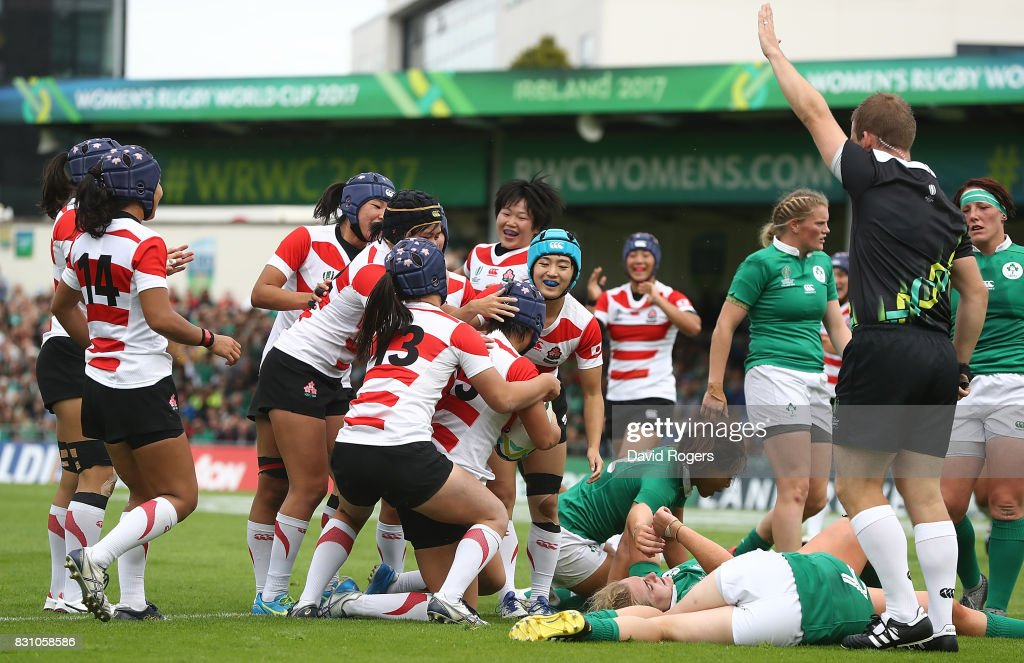 Maya Shimizu of Japan celebrates with team mates after scoring her teams second try of the game during the Women's Rugby World Cup 2017 match between Ireland and Japan on August 13, 2017 in Dublin, Ireland.