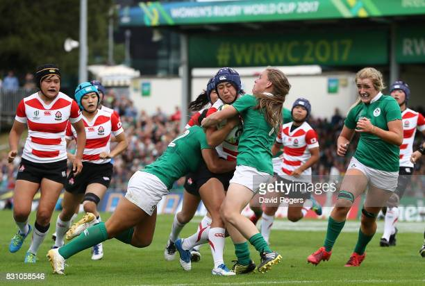 Maya Shimizu of Japan scores her teams second try of the game during the Women's Rugby World Cup 2017 match between Ireland and Japan on August 13,...