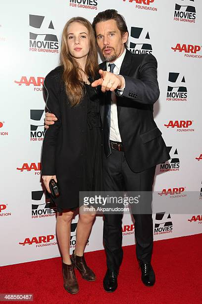 Maya ThurmanHawke and actor Ethan Hawke attend the 13th Annual AARP's Movies For Grownups Awards Gala at Regent Beverly Wilshire Hotel on February 10...