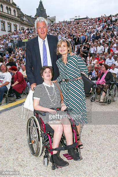 Maya von SchoenburgGlauchau with her daughter Pilar von SchoenburgGlauchau and her partner Henry Wyndham attend the Joan Baez Concert during the...