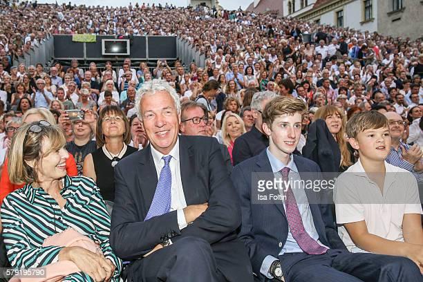 Maya von SchoenburgGlauchau with her partner Henry Wyndham and her nephew Hubertus von SchoenburgGlauchau and Valentin von SchoenburgGlauchau attend...