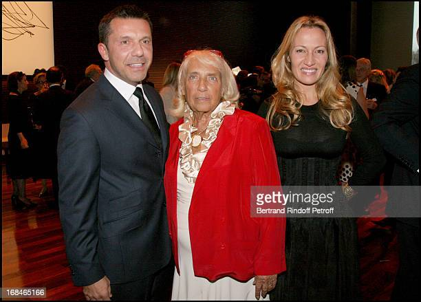 Maya Widmaier Picasso and her children Olivier and Diana at Private Viewing Of The Exhibition 'Picasso Et Les Maitres' At Grand Palais In paris