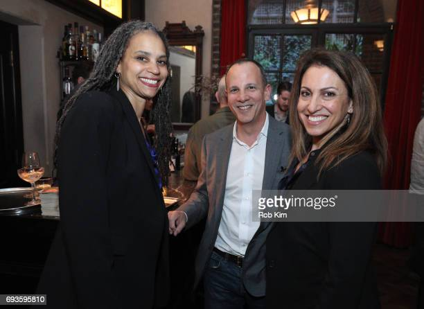 Maya Wiley Andrew Essex and Julie Grau attend the book launch party for Andrew Essex's The End of Advertising at Greenwich Hotel on June 7 2017 in...