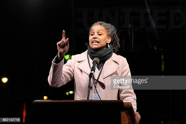 Maya Wiley speaks onstage during the We Stand United NYC Rally outside Trump International Hotel Tower on January 19 2017 in New York City