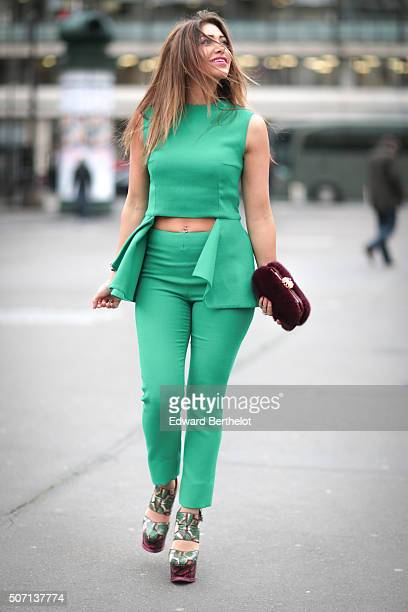 Maya Williams wearing Natalia Kaut a Sandra Rizk bag and Nicholas Kirkwood shoes before the Ilja show during Paris Fashion Week Haute Couture Spring...