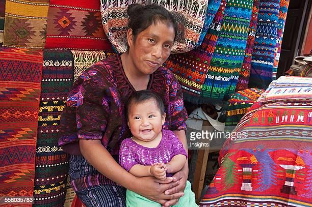 Maya Woman And Small Boy Chichicastenango El Quich