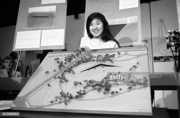 Maya Ying Lin the Yale architecture student who submitted the winning design holds the final design for the memorial which will be built near the...