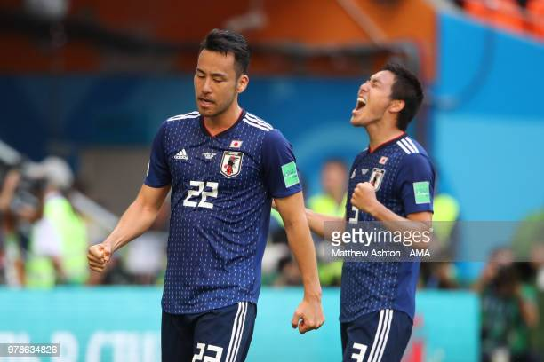 Maya Yoshida and Gen Shoji of Japan celebrates at the end of the 2018 FIFA World Cup Russia group H match between Colombia and Japan at Mordovia...