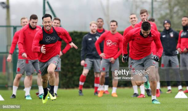 Maya Yoshida and Guido Carrillo during a Southampton FC training session at the Staplewood Campus on April 12 2018 in Southampton England