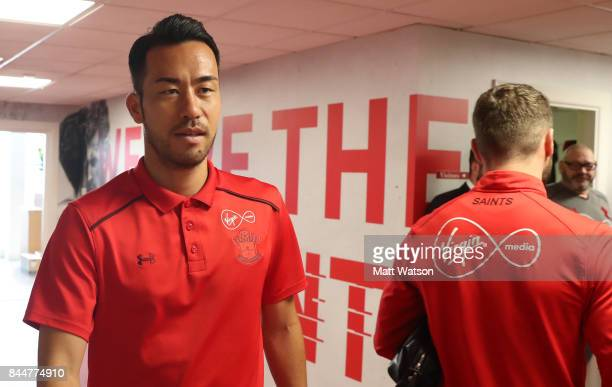 Maya Yoshida arrives ahead of the Premier League match between Southampton and Watford at St Mary's Stadium on September 9 2017 in Southampton England
