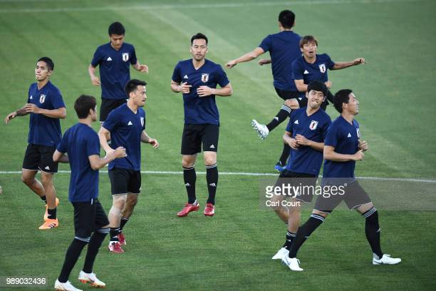 Maya Yoshida attends the Japan training ahead of the 2018 FIFA World Cup Round of 16 match against Belgium at Rostov Arena on July 1 2018 in...
