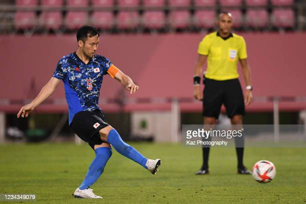 Maya Yoshida, Captain of Japan succeeds winner penalty kick at Penalty Shoot Out during the Men's Quarter Final match on day eight of the Tokyo 2020...